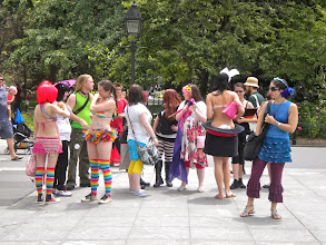Photo: Preparing to join the gay pride march, Washington Square Park, Greenwich Village, 26 June 2011. (Photograph by Elyaqim Mosheh Adam.)