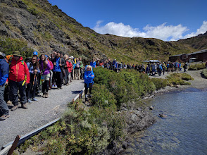 Photo: The downside of Torres del Paine's good infrastructure is its popularity.  These hikers were lined up at Paine Grande waiting for the catamaran to take them back to Pudeto.