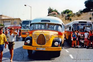 Photo: 1996-07-07. Malta. Bus terminus in Floriana, in front of the main gate of Valletta.  www.loki-travels.eu