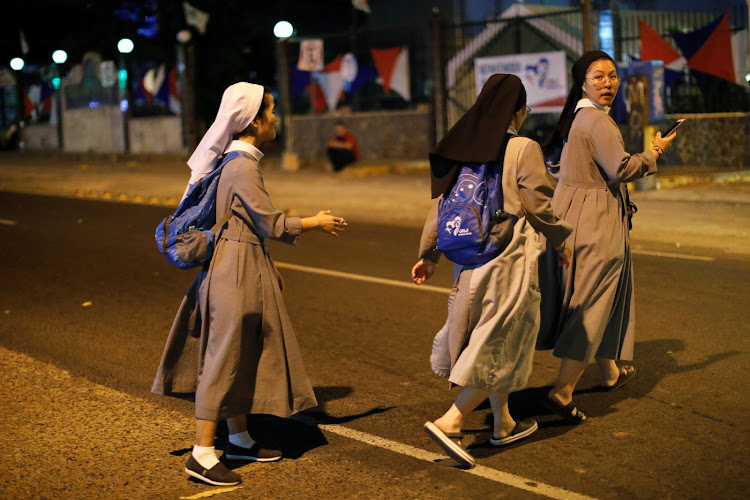 Nuns ahead of Pope Francis' visit in Panama City.