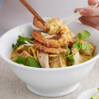 Noodle Soup with Chicken, Shrimp and Tofu.