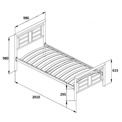 Single bed dimensions in mm - Birlea Montana Bed Frame