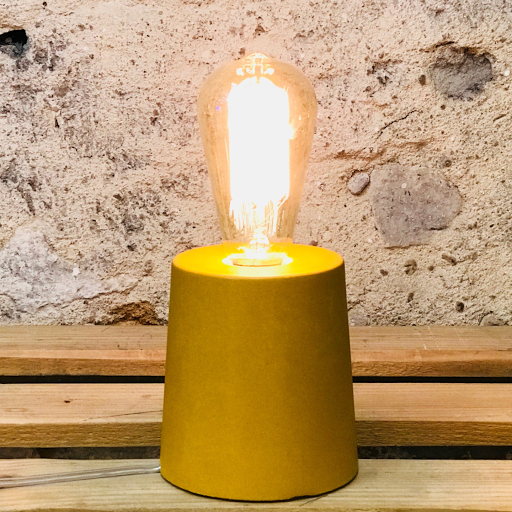 lampe béton jaune moutardedesign fait-main création made in france