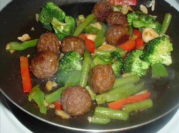 Thai Meatballs Over Spicy Stir Fry & Rice Recipe