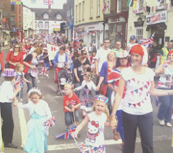 Photo: it's mainly for the children, but quite a few adults were sporting red, white and blue.