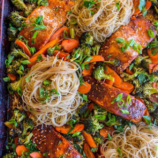 Sheet Pan Asian Salmon with Broccoli, Carrots, and Rice Noodles.