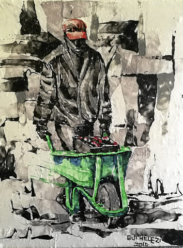 Building: Mbongeni Buthelezi's Barrow Boy (Plastic on plastic). A curated exhibition, City Lights … and Shadows, at the Killarney Country Club will feature established artists and newcomers. Picture: SUPPLIED