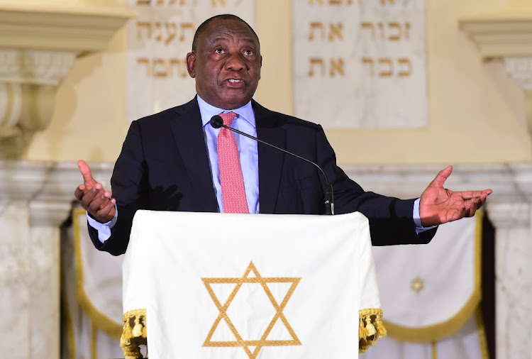 President Cyril Ramaphosa addressing the Jewish New Year's prayer session at the Gardens Synagogue in Cape Town, September 12 2018. Picture: GCIS