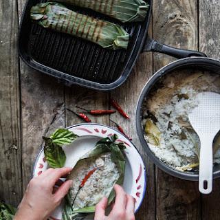 Grilled Coconut Rice in Banana Leaves (Nasi Bakar).