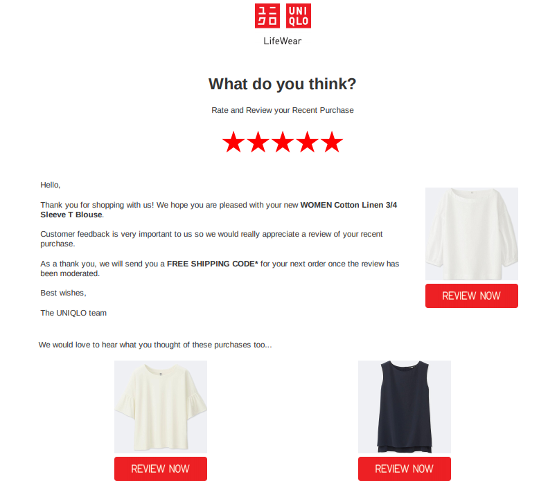 Example of product follow up email