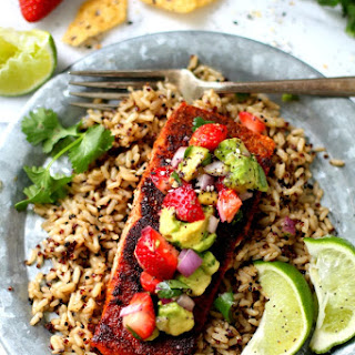 Blackened Salmon Topped with Strawberry Avocado Salsa Recipe