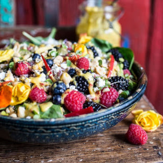 Very Berry Dream Salad with Chili Mango and Peanut Vinaigrette.