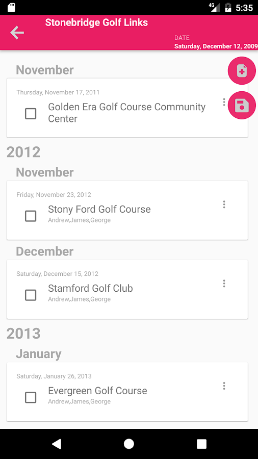 Golf score management - Golfine- screenshot