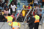 General views of crowd violence in the first half during the Nedbank Cup Semi Final match between Kaizer Chiefs and Free State Stars at Moses Mabhida Stadium on April 21, 2018 in Durban, South Africa.