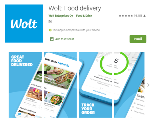 Mobile app type - Food - Wolt