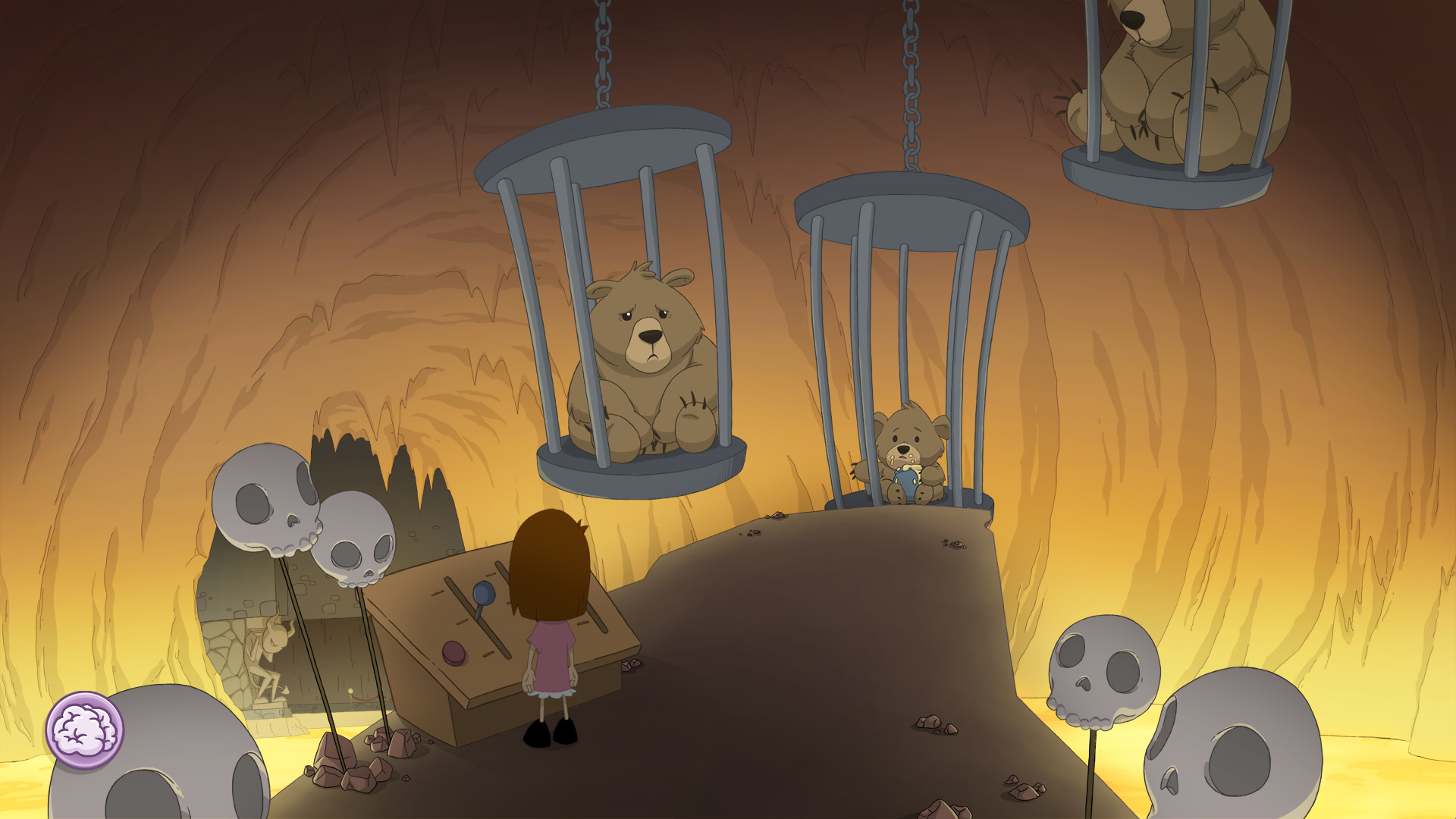 Anna's Quest:  ANna stand at a conrol table with levers surrounded by skulss, three bears trapped in cages.