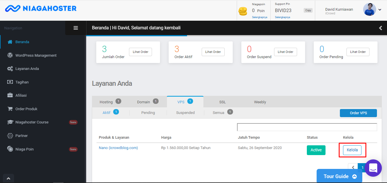 Dashboard VPS Niagahoster