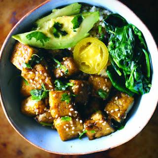 Sweet & Spicy Green Power Tofu Quinoa Bowl (Gluten-Free, Vegan).