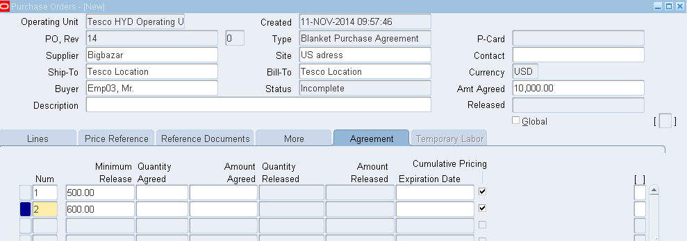 Approve The Blanket Purchase Agreement And Check The Status On The Header  Level.