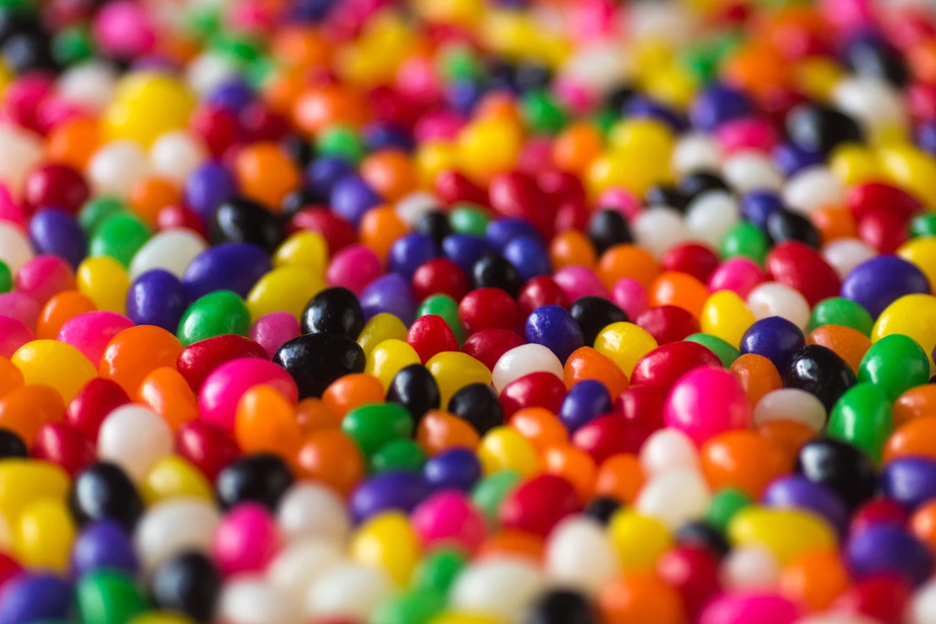 A lot of brightly colored jelly beans.