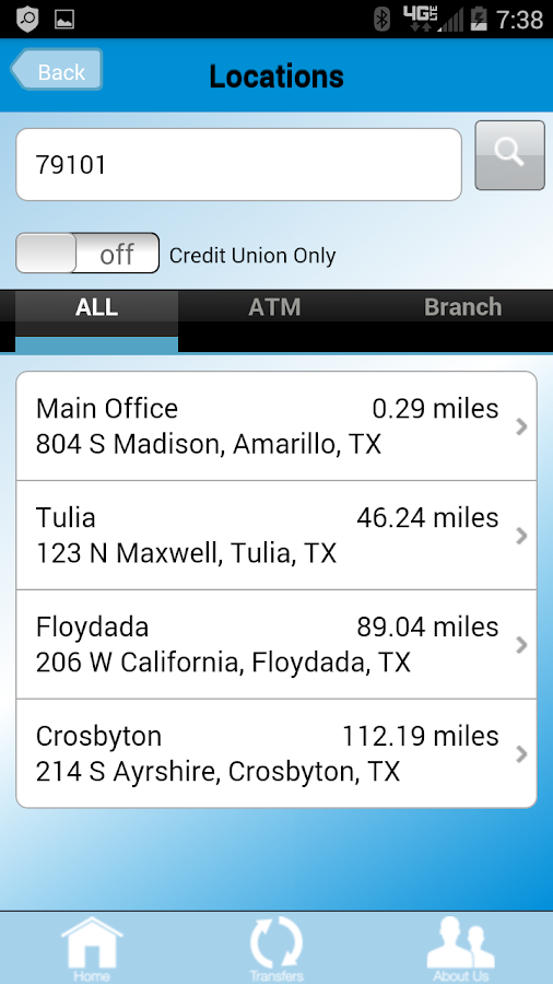 Texas Plains FCU Mobile App- screenshot