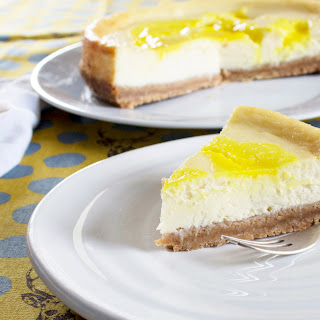 Limoncello And Lemon Curd Baked Cheesecake.