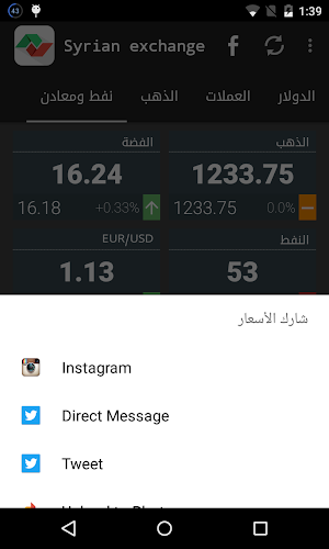 Syrian Exchange Prices Android Screenshot