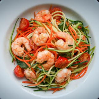 Garlic Chilli Prawns With Carrot and Courgette Noodles.