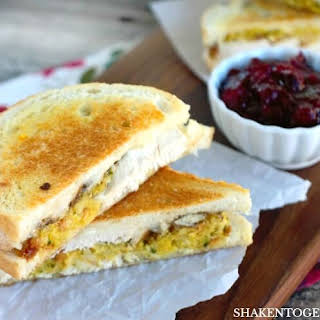 Thanksgiving Leftovers Grilled Cheese Sandwiches.