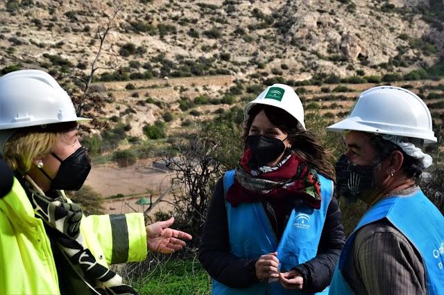 La delegada ha estado acompañada por la directora de la Alcazaba y uno de los arqueológicos que participa en la excavación.