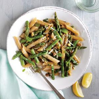 Penne with Asparagus, Pistachios, and Mint.