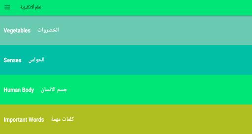 تعلم الكلمات الاكثر استخداما في اللغة الانكليزية screenshot 13