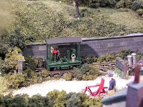 Photo: 016 A canopied version of an RT Models Lister, sitting on its recommended Kato Portram bogie lurks in a siding amongst the lush vegetation at Bottle Kiln Lane .