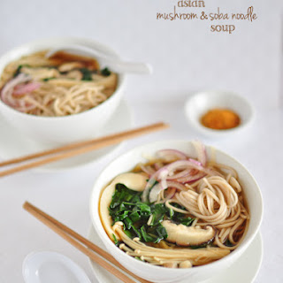 Asian Mixed Mushroom, Kale & Soba Noodle Soup.