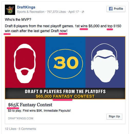 DraftKings, a fantasy sports website. Source: HubSpot
