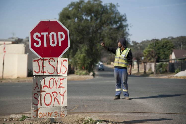 A message of hope plastered on a street in Randfontein.