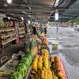 Fruit in Costa Rica by Peter Dewey - Food & Drink Fruits & Vegetables ( rain, fruit, work, costa rica, stand )