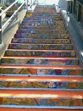 Photo: View of the top three flights of steps (from top) on the Hidden Garden Steps (16th Avenue, between Kirkham and Lawton streets in San Francisco's Inner Sunset District) installed on October 30, 2013. KZ Tile workers finished installing more than 50 pieces of the 148-step ceramic-tile mosaic designed and created by project artists Aileen Barr and Colette Crutcher. For more information about this volunteer-driven community-based project supported by the San Francisco Parks Alliance, the San Francisco Department of Public Works Street Parks Program, and hundreds of individual donors, please visit our website at http://hiddengardensteps.org.