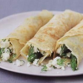 Pancakes With Asparagus, Cheese And Ham