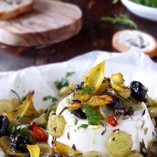 Baked Ricotta With Lemon, Grapes & Olives
