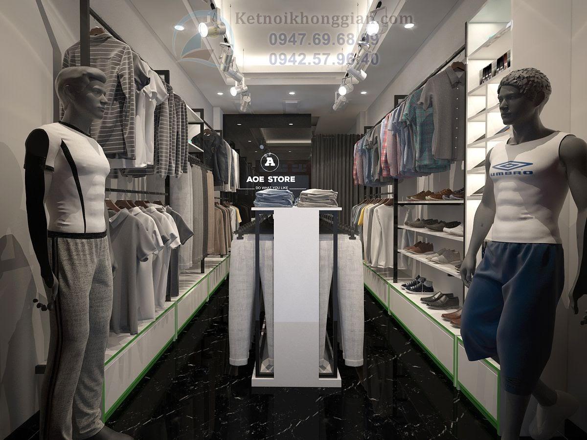 thiết kế shop thời trang nam, thiết kế cửa hàng thời trang