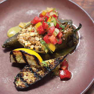 Stuffed Poblano Chile Peppers with Corn, Quinoa & Goat Cheese.