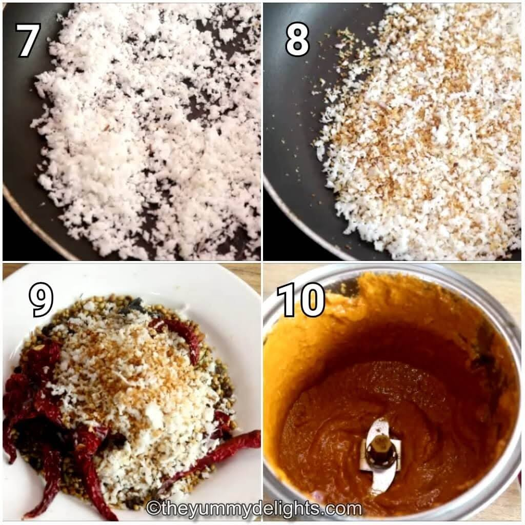 step by step image collage of grinding the roasted ingredients to make the chettinad masala.