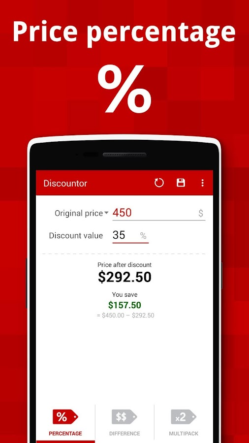 Discountor – sales calculator- screenshot