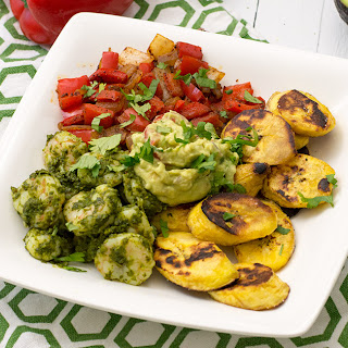 Chimichurri Shrimp with Plantains and Smoky Vegetables