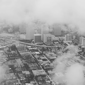 Hey Houston by Caleb Daniel - Landscapes Cloud Formations ( flying, plane, black and white, fly, cityscape, city,  )