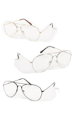 Pilotbrillor, klarglas