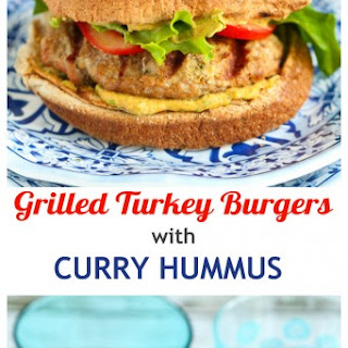 Grilled Turkey Burgers with Curry Hummus