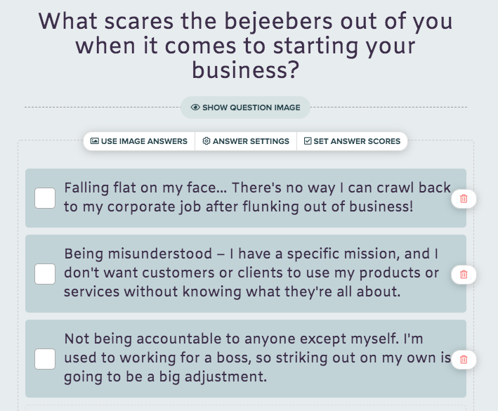 what scares you about starting a business quiz question for quiz for a coaching business