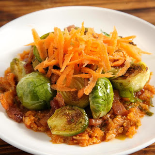 Brussels Sprouts with Kimchi and Bacon